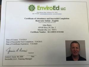 EnviroEd Training Certificate